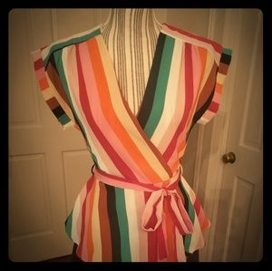 Darling, multi-color wrap inspired top with sash